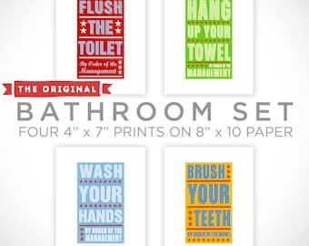 Bathroom Wall Decor- Bathroom Art- Kid Bathroom Wall Art- Bathroom Prints for Bathroom Decor Kid- Set of 4 By Order of the Management