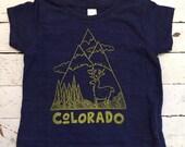 Blue/Yellow Colorado Mountain design shirt