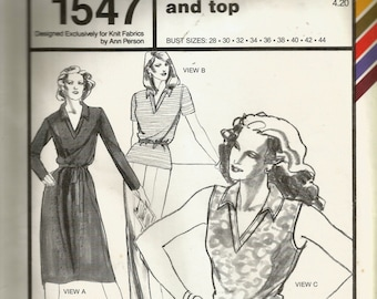 Stretch & Sew V-Collar Dress and Top Pattern 1547