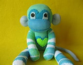 Flea - Blue and Green with Tiger-like Stripes - Handmade Best Friend Sock Monkey Plush Doll