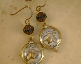 Queen Bee - Art Deco Watch Cases Bees French Text Recycled Repurposed Steampunk Victorian Assemblage Jewelry Earrings