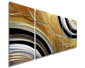 NEW! Gold, Black and Silver Painted Metal Accent - Abstract Metal Wall Art - Modern Painting -  Original Home Decor -Honeybee by Jon Allen