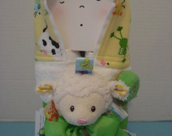 Hooded Towel/ Lamby/ Warm and Cozies/baby gift set/great baby shower gift/new baby/after bath/