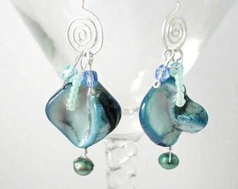Seafoam and Silver Scrolls Earrings