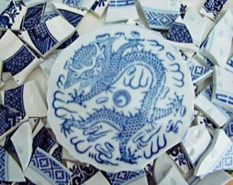 Mosaic Tiles Art Supply Hand Cut Vintage Blue Willow Asian Dragon Focal Broken Plate tile 100