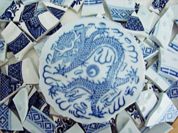 Mosaic Tiles Art Supply Hand Cut Vintage Blue Willow Asian Dragon Focal Broken Plate tile