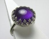 Amethyst cabochon Sterling Silver Ring filigree bezel 9.43 carats Size 6 3/4 polished band stackable stacking