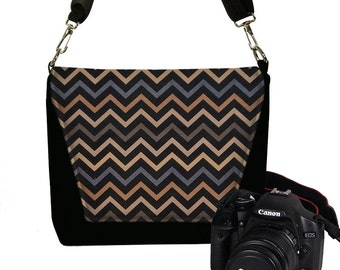 CLEARANCE SLR Camera Case  Dslr Camera Bag Purse Messenger Bag Chevron pattern gray black brown Unisex RTS