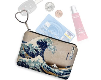 Zipper Coin Purse Keychain Fob Great Wave by Hokusai Business Card Case Small Zipper Pouch Japanese Asian Art blue yellow beige black RTS