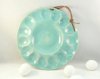 Deviled Egg Serving Plate, pottery and ceramics,  tray or platter for appetizers, stuffed mushrooms, oysters, clams plate
