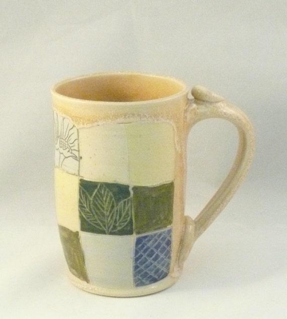 Patchwork Design Ceramic Mug Pottery Mug By Blueskypotteryco