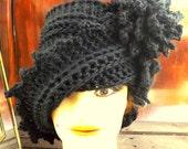 Black Crochet Hat Womens Hat, LAUREN Crochet Hat, Crochet Cloche Hat, Crochet Flower, Black Hat, Winter Hat, LAUREN Cloche Hat with Flower