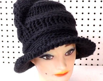 Crochet Floppy Hat, Womens Crochet Hat, Womens Hat Trendy, Steampunk Hat, Black Hat, Virginia Wide Brim Hat for Women
