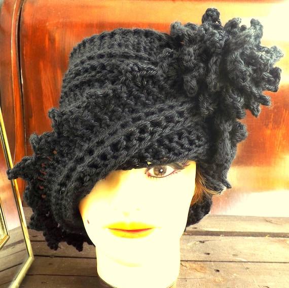 Black Crochet Hat Womens Hat, LAUREN Crochet Hat, Crochet Flower, Black Hat, LAUREN Cloche Hat with Flower, Formal Hat