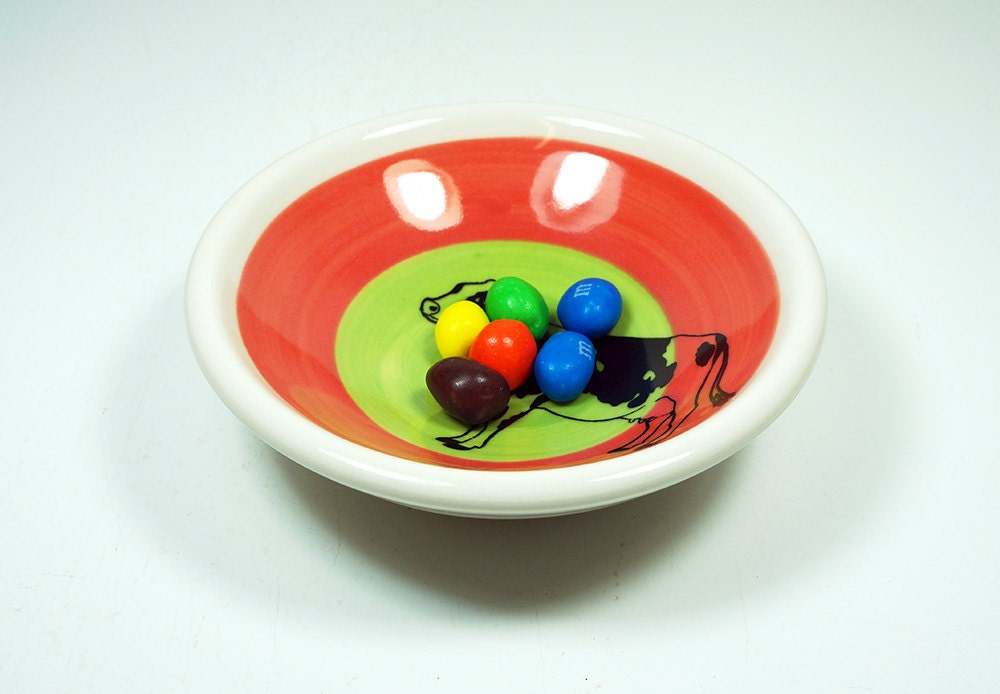 small dish, with a Holstein cow on a color block of red-orange & leaf, made to order.