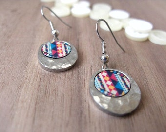 Small giftable | Drop earrings | Tribal print in colourful hues, blue, yellow, red | Great gift idea for a friend, a coworker.