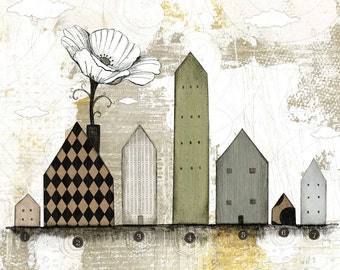 Folk Art- Mixed Media Collage Art Print or Print on Canvas, Large Wall Artwork for Your Office