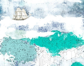 Nautical Art Print, Ocean Painting Reproduction , Canvas Painting, Canvas Print,  Giclee Print , Whimsical Mixed Media Collage Art