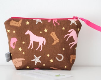 Mini zipper pouch - Horses -  pink - brown - coin purse - shopping - woman - girl - gift - cowgirl - cowboy - western