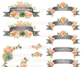 Printable Wedding DIY Clip Art Make Your Own Invites Watercolor Succulents Peach Roses Scrapbooking Commercial Use  PNG 300 DPI