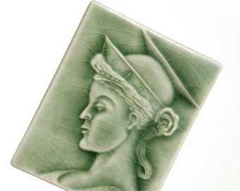 St. Cecilia - handmade ceramic tile with embossed image of St. Cecilia  - glazed in fern green - home decor - gift for music lovers