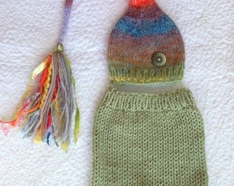 RTS Newborn Boy OUTFiT Knit Hat Pant Set BaBY PHoTo PRoP Cucumber Green Multicolor Heather TaSSeL SToCKiNG CaP w Button & SHoRTS Coming Home