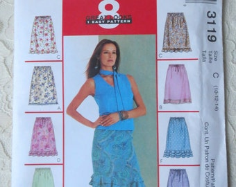 McCalls 3119 Sewing Pattern Skirts 8 Great Looks Elastic Waist or Tie Casing Hem Variations Size C 10-14