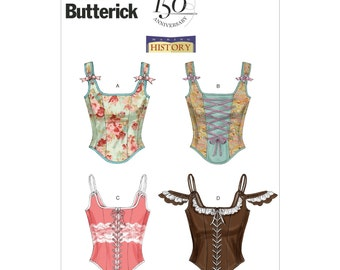 Butterick B5935 Sewing Pattern Making History Boned Corset with Variations Misses Size D5 12-20