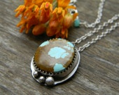 RESERVED - Natural Royston Turquoise Pendant - sterling silver pendant necklace