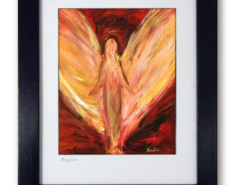 Modern Abstract Art Print for original painting - Vision of Angels - Mat print 11x14 Destiny's Calling by artist BenWill