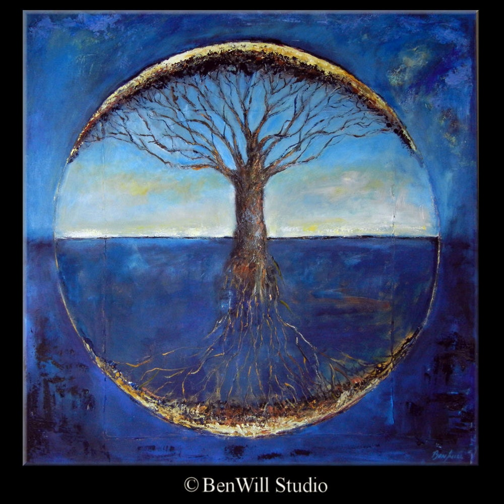 Painting: Abstract Tree HUGE Painting ORIGINAL Art Blue Tree Of Life