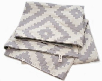 Baby Crib Blanket Grey and Ivory Modern Diamond Print Toddler Bed Size with Gray Minky Chenille Diamonte Stone Throw Blanket