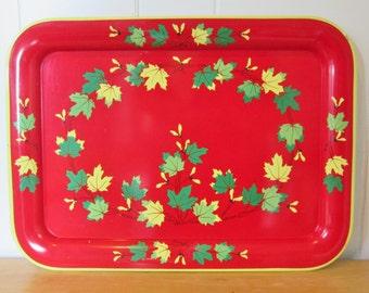 vintage red maple leaf large metal tray