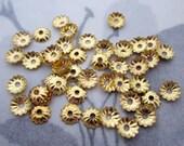 100 pcs. gold tone corrugated ridged flower bead caps 5mm - f4798
