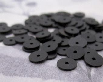 200 pcs. vintage black plastic disk saucer matte sequin beads 6x.5mm - r214