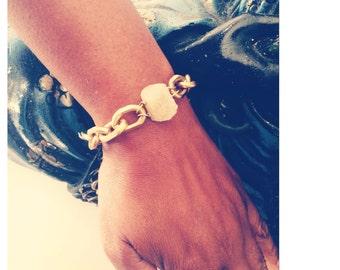 White Druzy Quartz Brass Bracelet with Solid Copper and Brass Chain - Brass statement bracelet - Statement Bracelet - Chunky Bold Bracelet