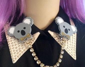 Koala Bear Laser Cut Acrylic Collar Clip