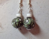 Ceramic Bead Earrings Sage Green and Off White using Golem Bulgarian Beads on silver