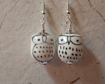 Ceramic Owl Bird Earrings All White on Silver   What a Hoot