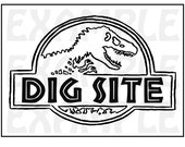 "PDF: Dinosaur Dig Site Sign - Themed Dinosaur Sign Party Zone Paleo Caveman Play On ""Jurassic Park"""