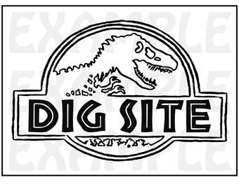 "PDF: Dinosaur Dig Site Sign - Themed Dinosaur Sign Party Zone Paleo Caveman Play On ""Jurassic Park"""