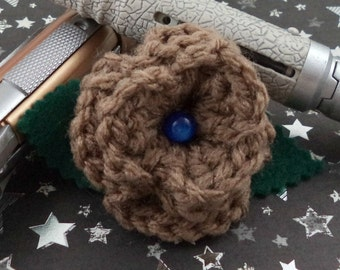 Crocheted Rose Hair Clip - Copper with Blue Bead (SWG-HC-DWDA01)