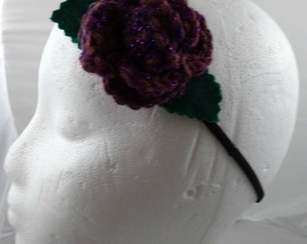 Martha Jones - Crocheted Rose Headband - Dark Pink and Purple (SWG-HH-DWMJ02)