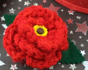 Amy Pond - Crocheted Rose Bar Pin - Sparkly Red with a Sunflower (SWG-PS-DWAP02)