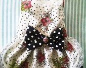 Harness Dress For Dogs or Cat: Rockabilly  Fancy pet collar. dog dress  dog clothes Yorkie Chihuahua Maltese