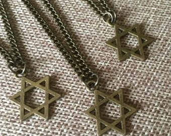 Star of David Necklace in Bronze - Star of David Pendant on Bronze Cable Chain - Jewish Jewelry - Mens Star of Davis Necklace