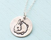 CHUBBY BUNNY necklace, round Rabbit pendant, sterling silver, 24 kt dipped. Handcrafted by Chocolate and Steel