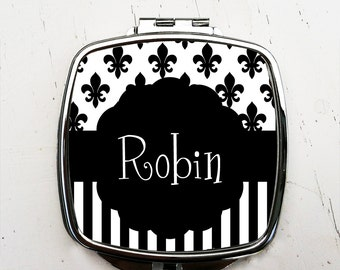 Personalized Fleur de Lis Pocket Mirror