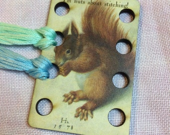 Nuts About Stitching embroidery floss holder wooden thread keep squirrel