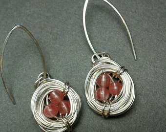 Bird Nest Earrings with Pink Cherry Quartz Eggs in Silver Wire